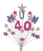 Mum 40th birthday cake topper decoration in shades of pink and lilac - free postage